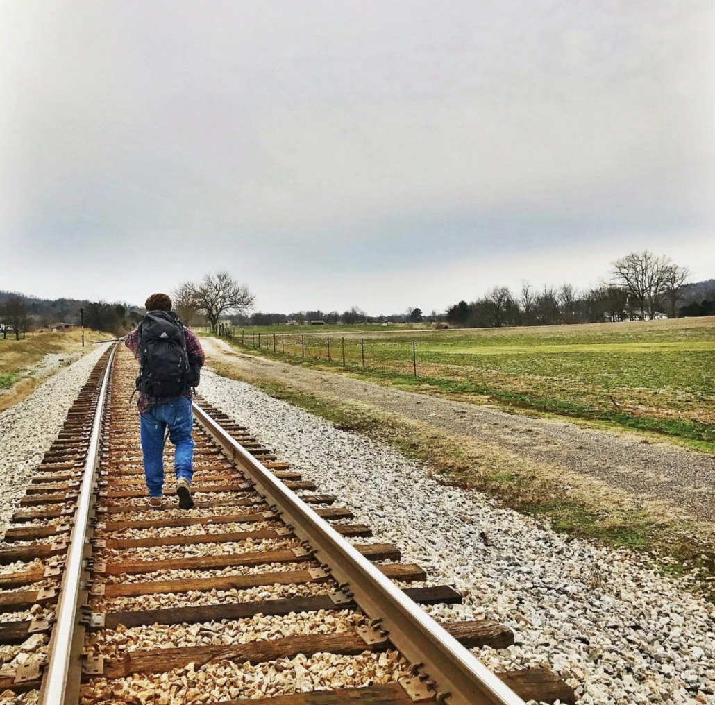 Kentucky hiking trails sometimes parallel railroad tracks.