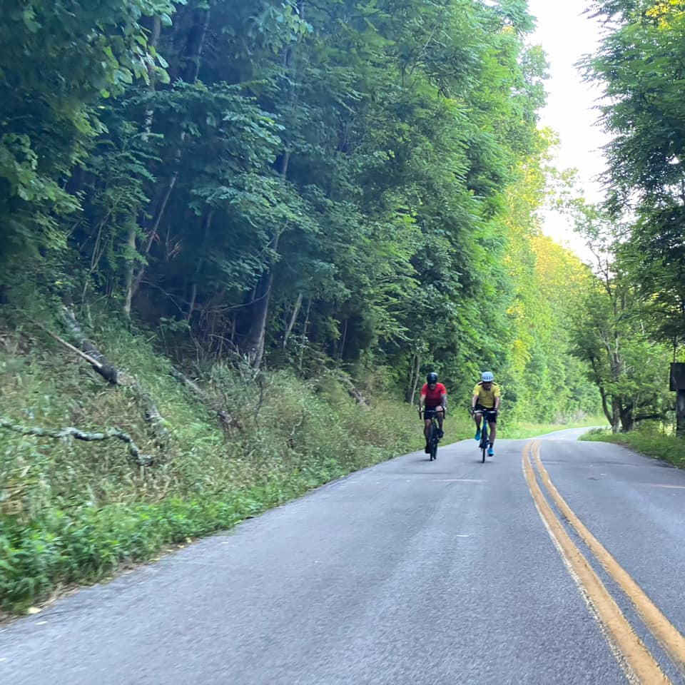 Eddie Bruner and friends cycling through Hart County in the summer.